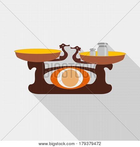 Old golden weighing scale balance icon. Flat illustration of vector icon for web