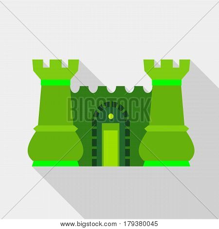 Green ancient fortress with towers icon. Flat illustration of green ancient fortress with towers vector icon for web
