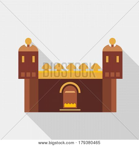 Fortress with gate icon. Flat illustration of fortress with gate vector icon for web