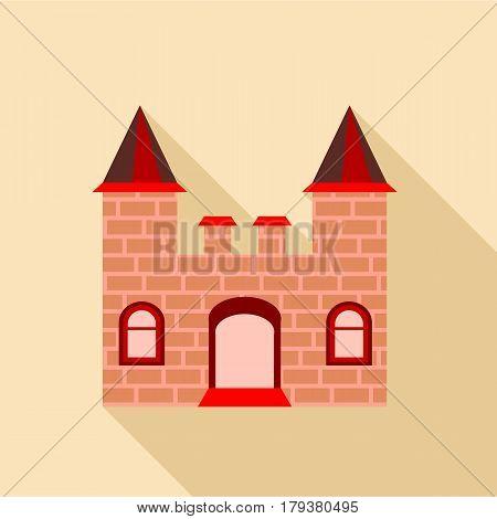 Ancient brick castle icon. Flat illustration of ancient brick castle vector icon for web