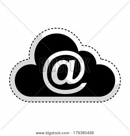 cloud computing with arroba symbol vector illustration design
