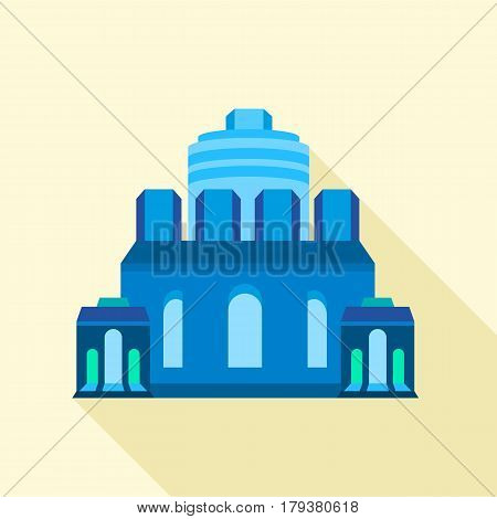 Blue ancient building icon. Flat illustration of blue ancient building vector icon for web