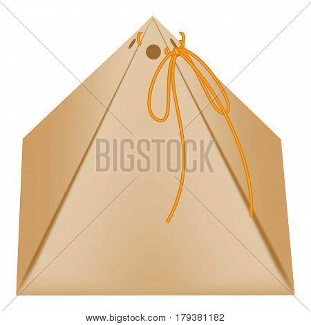 Cardboard triangular packaging box icon. Flat illustration of cardboard triangular packaging box vector icon for web