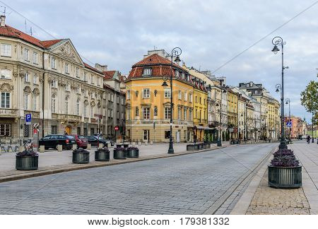 Warsaw, Poland - November 4, 2016: the Central street in Warsaw - Nowy Swiat street