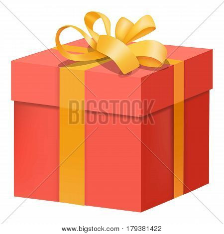 Red gift box with yellow ribbon icon. Flat illustration of red gift box with yellow ribbon vector icon for web
