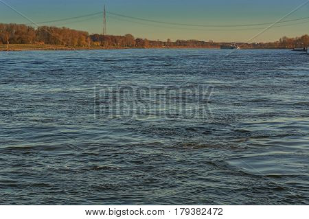 Transport with cargo ship on the Rhine Zons Germany