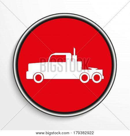 Truck. White vector icon on a red background.