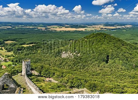 View of the summer landscape from Bezdez Castle/Czech Republic/