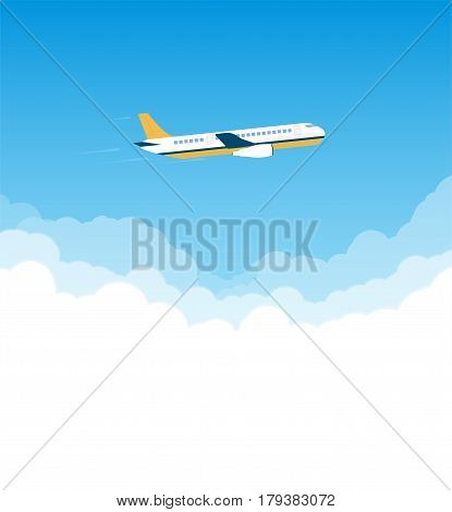 Passenger plane side view flying above the clouds. Bright day. Commercial airlines banner and travel advertisement. Blue sky and white cloud.
