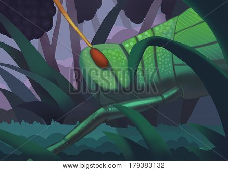 The Black Berry Garden with a Big Grasshopper. Video Game's Digital CG Artwork, Concept Illustration, Realistic Cartoon Style Background