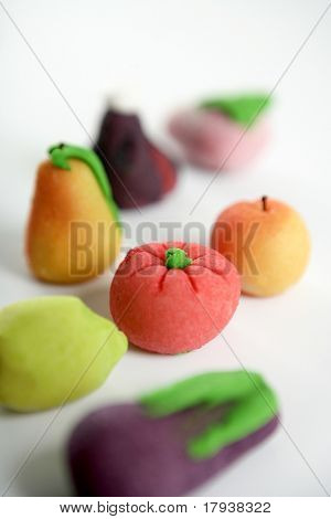 Variety of fruits on colorful marzipan. St. Dionis famous saint celebration in Spain. San Dionisio. October 9
