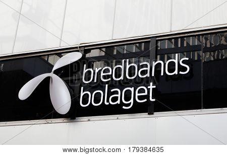 Stockholm Sweden - July 10 2016: Closeup of the Internet provider Brebandsbolaget sign at thier shop in downtown Stockholm.