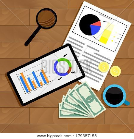Financial statistics top view. Diagram data financial table wood and analyzing finance. Vector illustration