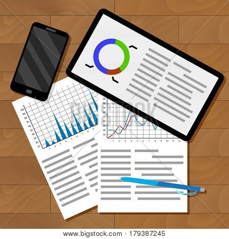 Infographics exchange statistics. Business information for forecast chart statistic on table. Vector illustration