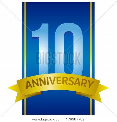 Ten years anniversary label. Light blue digits 10 on navy blue background and gold ribbon below. Vector design element.