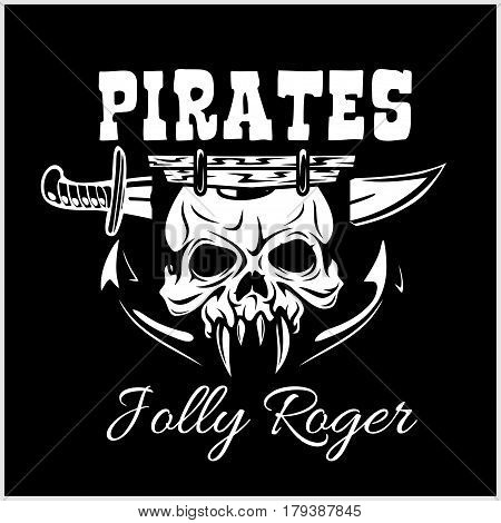 Pirates Jolly Roger symbol. Vector poster of skull with pirate eye patch, crossed bones and swords or sabers. Black flag for entertainment party decor, alcohol drink bar or pub emblem or sign on black