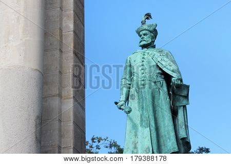 BUDAPEST, HUNGARY - AUGUST 08, 2012: Sculpture of Stephen Bocskai (Hollo Barnabas 1903). As part of Millennium Monument on the Heroes Square. Bocskai was Prince of Transylvania and Hungary (XVII c.).