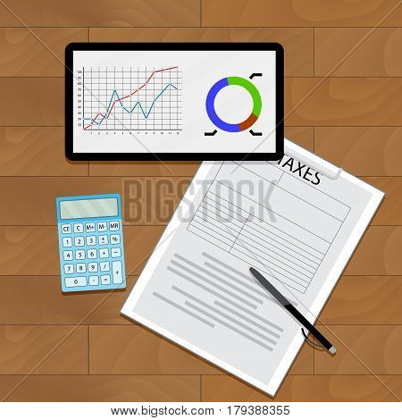 Graph chart and taxes. Statistical data market count document. Vector illustration