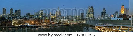 Panoramic View Of City Of London, England, Uk, Europe At Dusk