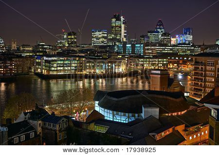 Looking Over Shakespeare's Globe Theatre And The River Thames Towards The City Of London, England, U
