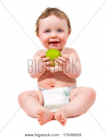 Young Baby With Apple