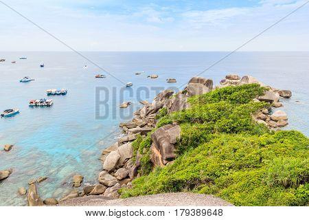 View Point at Similan island beautiful crystal clear sea at tropical island Similan island Andaman sea Phuket Thailand