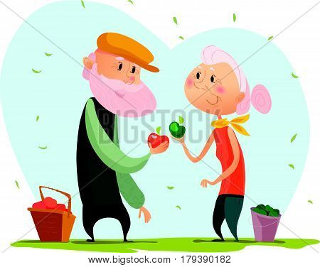 Vector flat portrait of old cute loving couple isolated on white background. Cartoon style. Love forever. Grandparent character illustration. Happy people with apple. Good for lovely postcard design.