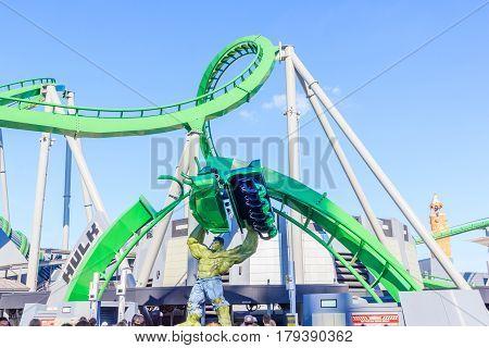 ORLANDO, USA - JANUARY 05, 2017: Incredible hulk coaster in Adventure Island of Universal Studios Orlando. Universal Studios Orlando is a theme park resort in Orlando Florida.