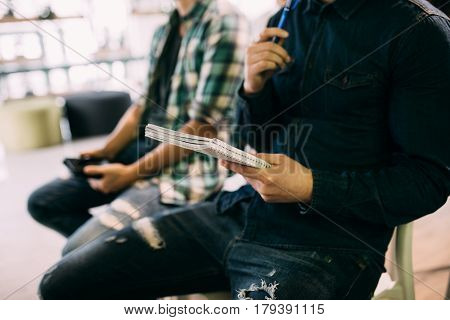 Business People Sitting In A Row And Writing Notes. Close-up Of Writing Hands. Browse My Portfolio F