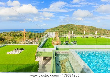 PHUKET THAILAND - JANUARY 22 2017: Scenery of swimming pool at Crest Resort and Pool Villas and Resorts is the latest luxury intimate gems an eco friendly resort Phuket island in Thailand.