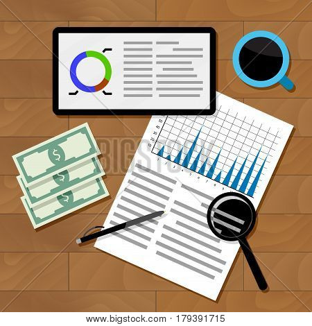 Financial statistics concept. Chart and infograph statistical graphic vector illustration