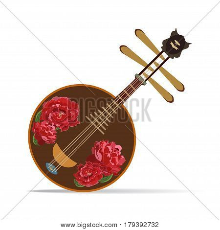 Vector illustration of yueqin isolated on white background. Chinese plucked string musical instrument decorated with peony flowers.