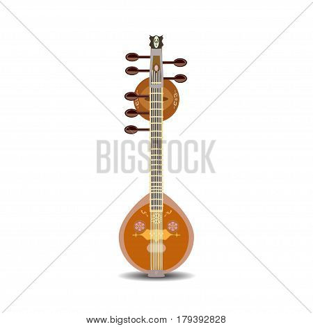 Vector illustration of saraswati veena isolated on white background. Indian saraswati guitar string plucked musical instrument.
