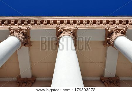 Look up at the classic building with white columns. Architectural composition.