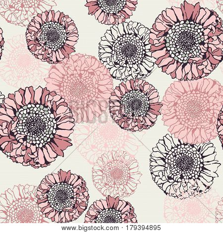 Decoration flowers, seamless design, powdery color style