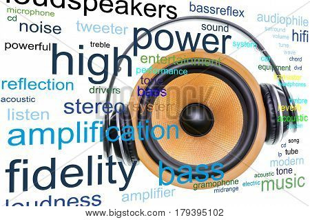 Loudspeaker word cloud concept with yellow woofer and headphones related tags.