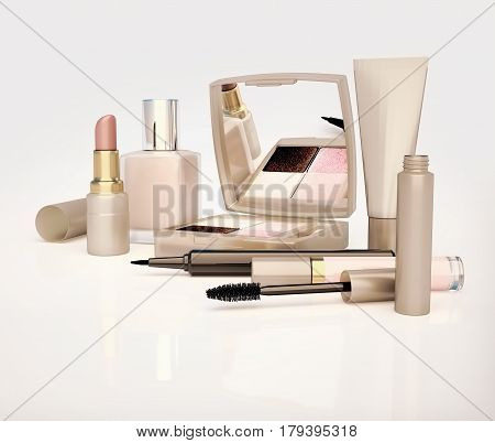 Makeup set on light background. Mascara lipstick pencil eye shadow concealer cream located on a light gray background. 3D illustration