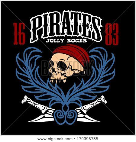 Vintage Nautical Labels or Design Elements With Retro Textures and Typography. Pirates, Harpoons, Mermaid, Sailfish, etc. Fits Perfect for a T-shirt Design, Logos so on. Isolated Vector Illustration on black background