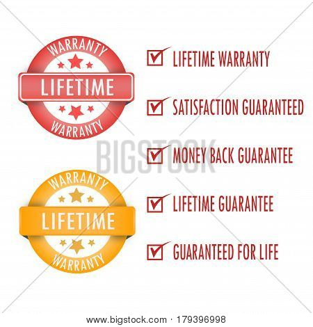 Lifetime warranty. stamp. sticker. seal.Lifetime warranty sign. poster