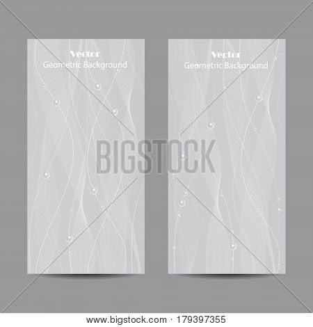 Set of vertical banners. Beautiful white tulle with pearls on grey background