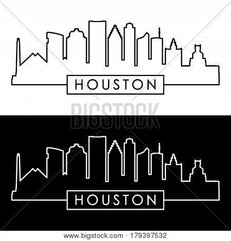 Houston skyline. Linear style. Editable vector file.