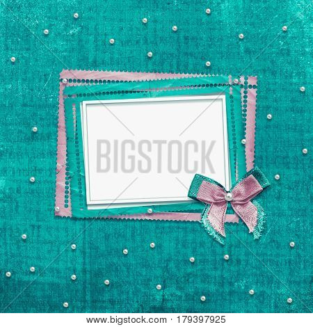 Old vintage photo album with beautiful bows and lace