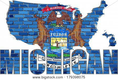 Michigan on a brick wall - Illustration