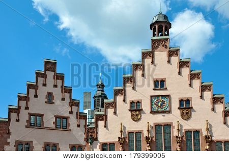 The front facade of the two ancient buildings of Frankfurt am Main with stepped gables. Germany.