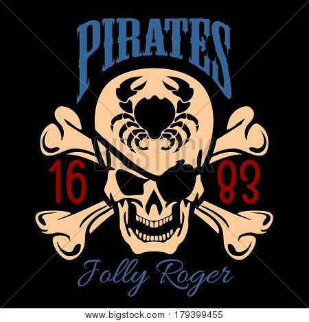 Vintage Nautical Labels or Design Elements With Retro Elements and Typography. Pirates, Harpoons, Mermaid, Sailfish, etc. Fits Perfect for a T-shirt Design, Logos so on. Isolated Vector Illustration on black background