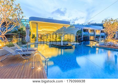 PHUKET THAILAND - JANUARY 22 2017: Oriental Architecture of Crest Resort and Pool Villas and Resorts is the latest luxury intimate gems an eco friendly resort Phuket island in Thailand.