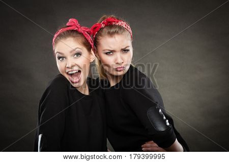 Crazy Pin Up Retro Girls Making Funny Faces.