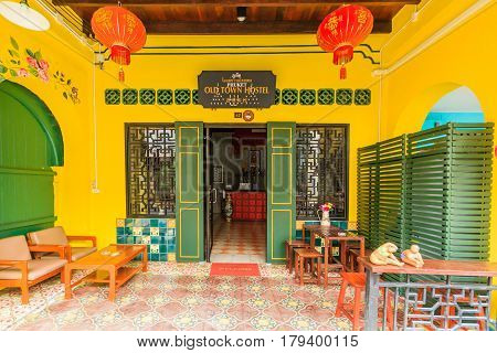 PHUKET THAILAND - JANUARY 20 2017: Phuket old town with old buildings in Sino Portuguese style is a very famous tourist destination of Phuket.