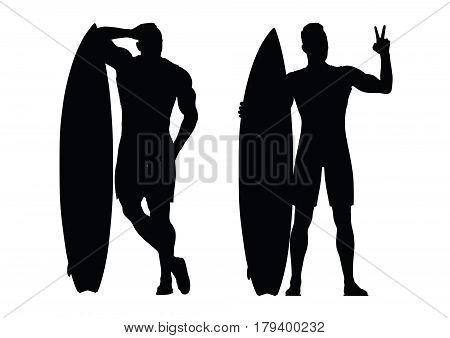 Black silhouette of the surfer on a white background. Vector illustration