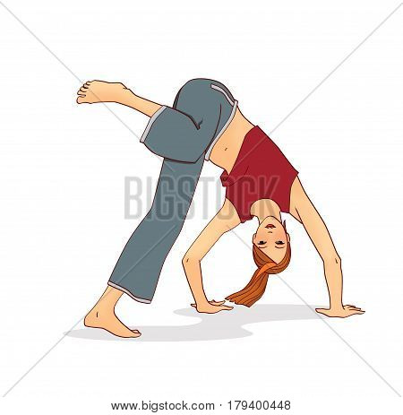 The barefoot girl performs a complex of capoeira movements: a coup over the head a wheel. Isolated on white background